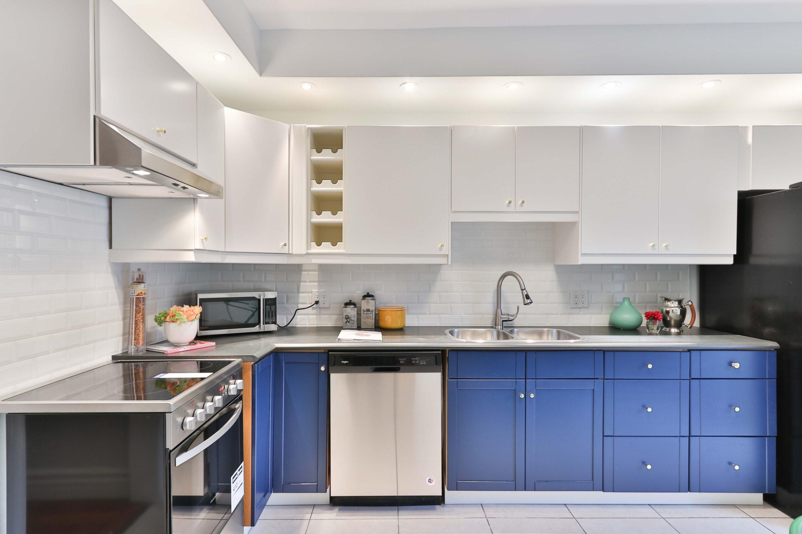 Köksluckor i blå färg